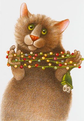 Cat with Lights Holiday Cards, Humor/Parody, Holiday Cards, Stationery - The Museum Shop of The Art Institute of Chicago