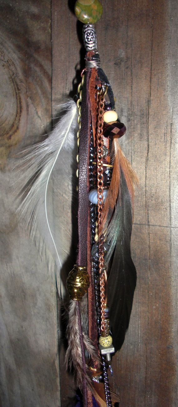 Hair wraps removable urban leather feathers chain extension accessories (medieval,renaissance,unique,girls,accessories)