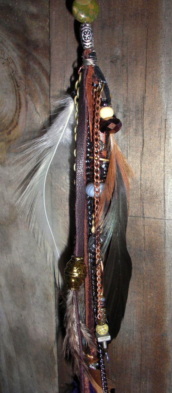 Hair wraps removable urban leather feathers chain extension accessories (medieval,renaissance,unique,girls,accessories)