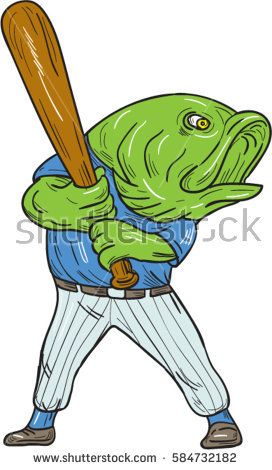 Illustration of a largemouth bass baseball player holding bat batting looking to the side viewed from front set on isolated white background done in cartoon style.   #baseball #drawing #illustration