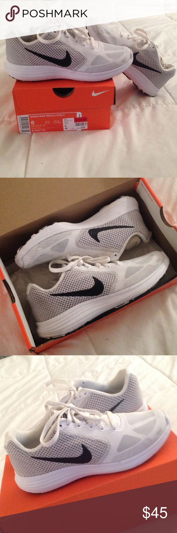 FINAL PRICE!😘WMNS NIKE Revolution 3 Size 6M. Purchased at Broadway Shoe Warehouse in Tennessee. Worn only twice. White with light grey and black Nike checks. Comes with box. Fits true to size! Nike Shoes Athletic Shoes