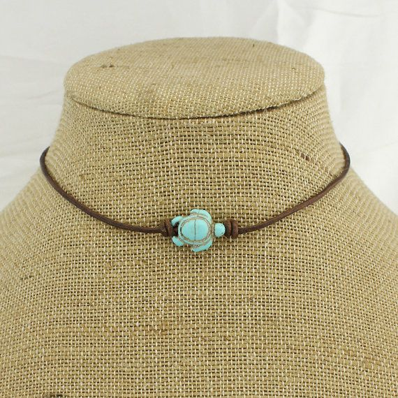 Antique brown turtle choker, leather turquoise beads party choker necklace…