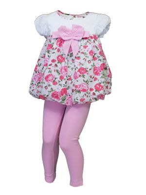 """""""Beetlejuice"""" Designer Girls 2 Piece Set Comprising Puff Dress with Rose Print, Capped Sleeves and Large Bow Detail & Legging Pant with Elasticated Waist. $21 http://www.kidsclothingrack.com.au/#!product/prd1/2795341691/uk-designer-'beetlejuice'-puff-top-%26-leggings"""