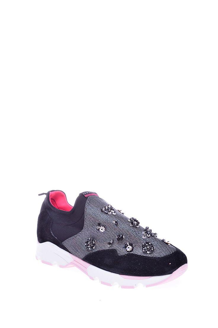 Комбинированные кроссовки оригинального дизайна на удобной подошве, декорированы стразами http://oneclub.ua/krossovki-34544.html#product_option13