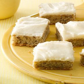 Frosted Banana Bars, my daughter Staci said these ROCK !  Use the jelly roll pan it calls for , it works out perfect . Very easy ! Reva