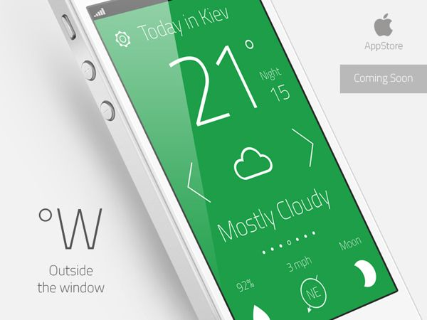 "Weather App ""Outside the window"" by Artem Svitelskyi, via Behance"