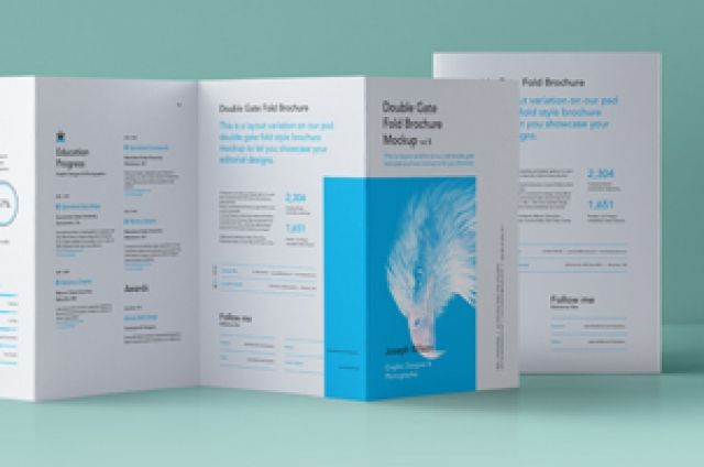 This is the reversed side of our classic psd double gate fold brochure to showcase your print graphics. It includes the...