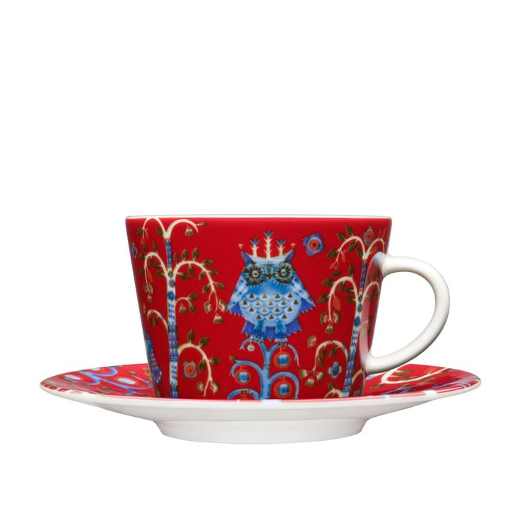 Fantastical Taika capuccino cup and saucer | iittala Taika Red Coffee Cup and Saucer | $42.00