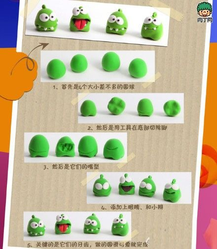 picture tutorial on how to make Om Nom out of clay - maybe a table activity for the kids during a Cut the Rope party?