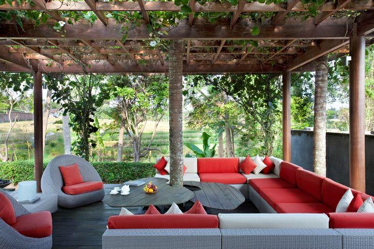 Villa Dewi Sri Bali - View from lounge to the garden http://prestigebalivillas.com/bali_villas/villa_dewi_sri/20/reservation_and_rate/