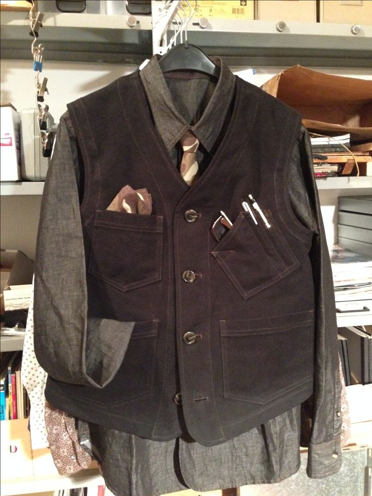 """freshly out of my """"kitchen"""" - my first workwear vest, just for pattern tryout, looks successful…… http://www.99wtf.net/men/mens-fasion/latest-mens-casual-trouser-trend-2016/"""
