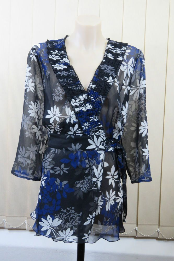 Size XL / 16 Jacqui E Ladies Sheer Wrap Top Tunic Business Office Cocktail Style