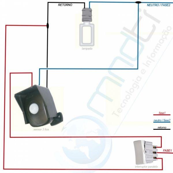 Sensor de presença com interruptor simples / paralelo - MNDTI