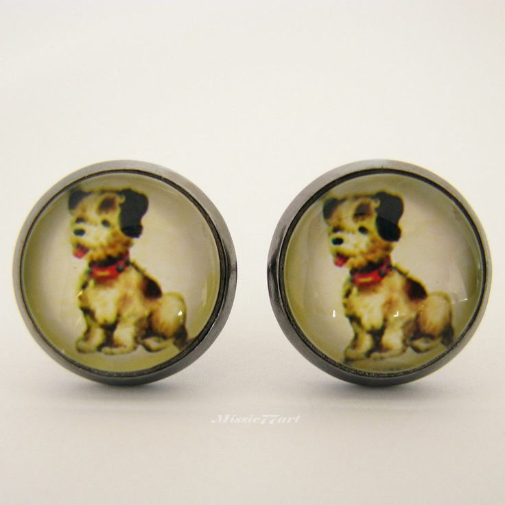 Vintage inspired Puppy Dog Cabochon stud earrings Gunmetal Plated - Gift Boxed available from Missie77art Jewellery on ebay