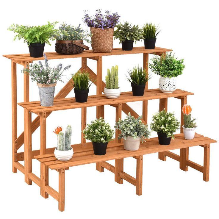 3tier wide wood plant stand flower pot holder wood
