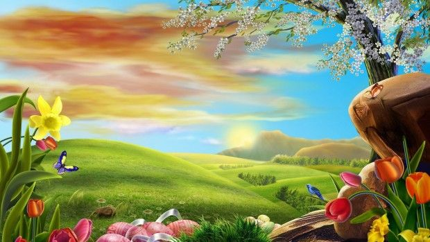 Easter Eggs In The Spring Meadow Holiday Wallpapers Easter Wallpaper Beautiful Images Nature Iphone Background Images
