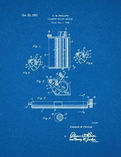 Cigarette Rolling Machine Patent Print Art Poster Blueprint (8.5' x 11') #patentartposters