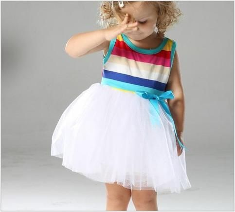 White rainbow tutu dress. Little Sweet Chic Boutique.