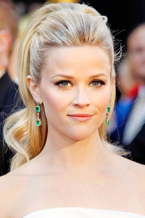 """I wanted to showcase her shoulders, neck, and beautiful earrings,"" says hairstylist Renato Campora about the '60s-inspired pony he crafted for Reese Witherspoon.    Coiffeur Giannandrea, known for teasing Drew Barrymore's strands into voluminous updos, likes the look. ""Adding height to the crown can be tricky, but when done in the right proportions, it's very glamorous,"" he says. ""A ponytail with volume on top is always stylish."""