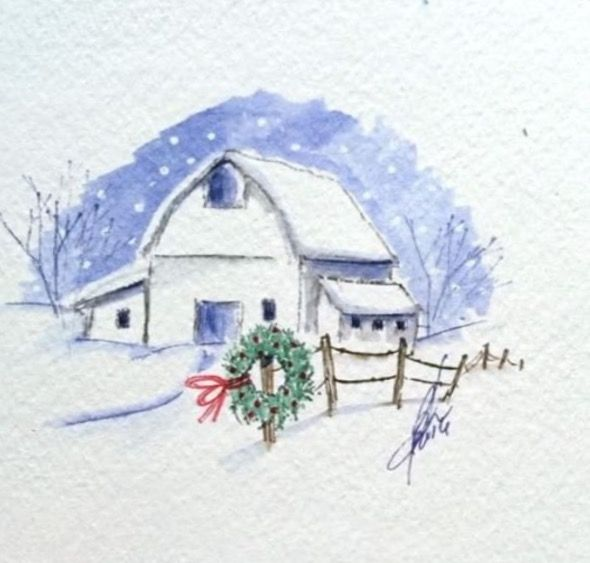 watercolor the art impressions way - snowy winter barn scene