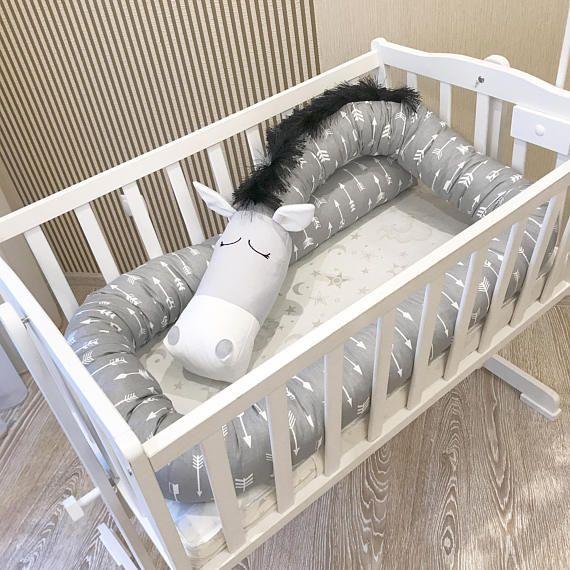 Baby crib bumper GREY HORSE Pillow Handmade Bolster Pillow