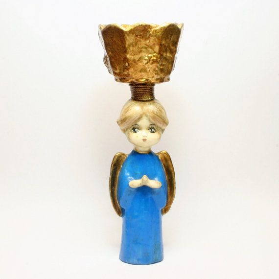 De Sela Paper Mache Praying Angel with Open Bowl by BasicDetails
