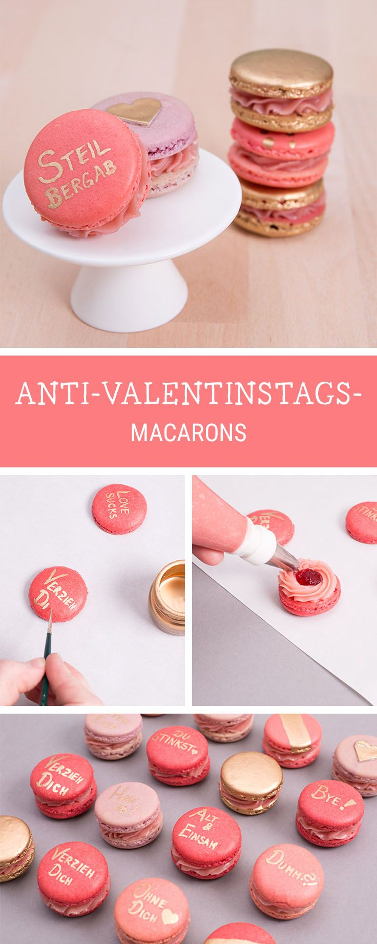 Witzige Geschenkidee für den Anti-Valentinstag: Macarons mit süßer Botschaft / macarons recipe for anti Valentine's Day, party food via DaWanda.com