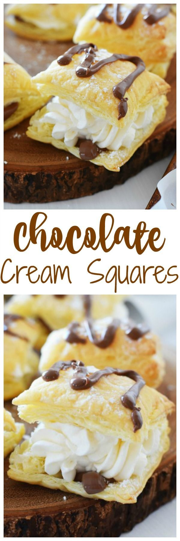 Real Whipped Cream & Chocolate dessert squares are the perfectly elegant dessert idea. Ideal for a Valentine's Date night, these are super delicious and feature delicate puff pastry.