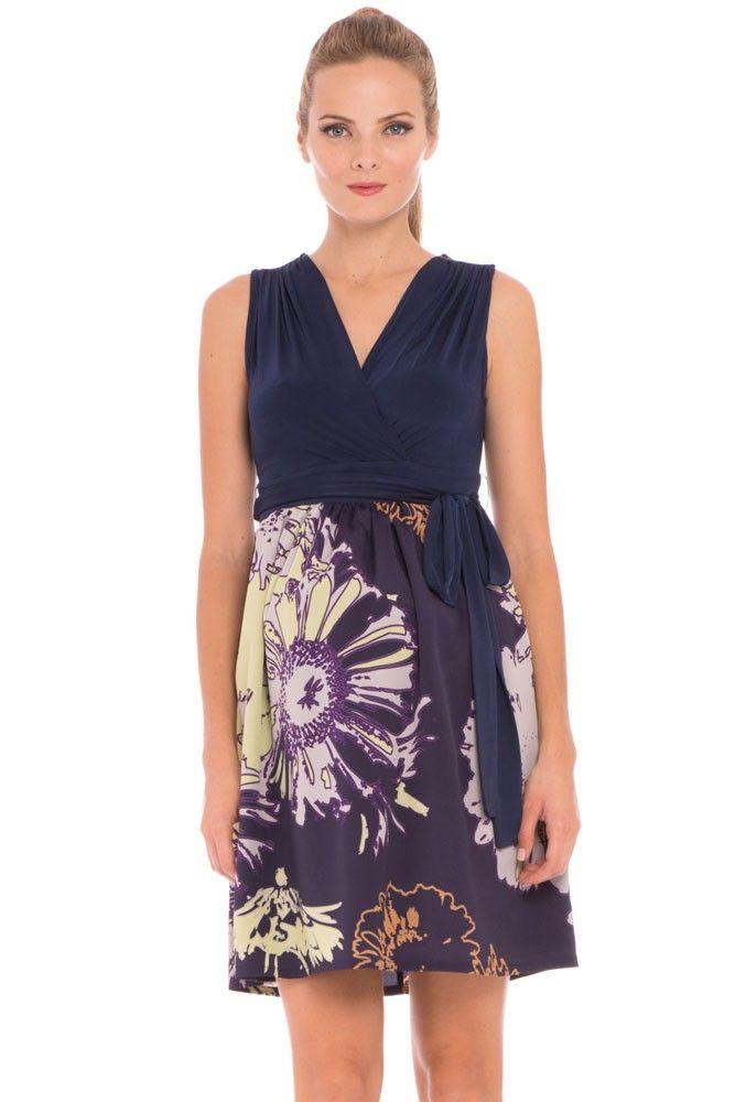 Skylar Sleeveless Maternity Dress in Navy with Print