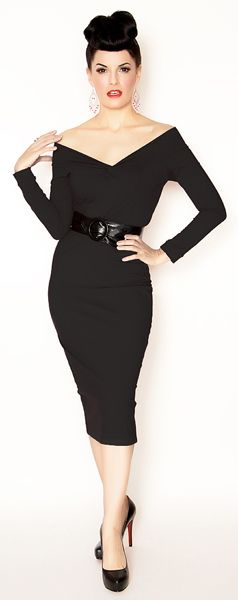 Rockabilly Girl Clothing by Bernie Dexter**Black 1950's Bombshell Bettina Wiggle Dress - XS to XL - Unique Vintage - Homecoming Dresses, Pinup & Prom Dresses.