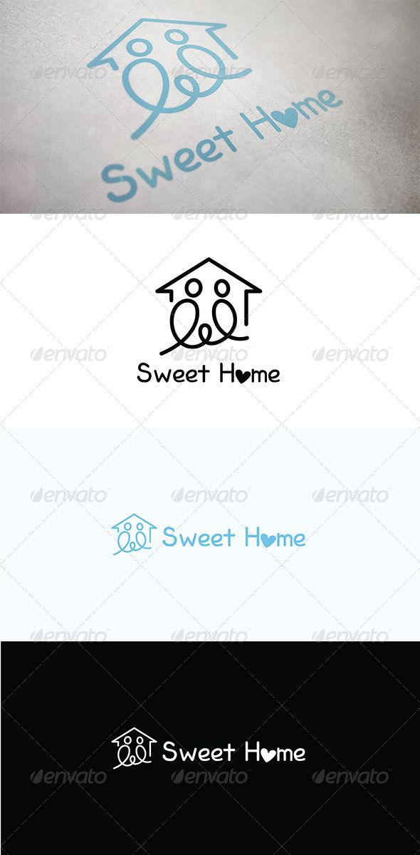 Sweet Home  #GraphicRiver         Logo representing Sweet Home. It could be use in multiple concepts like home, real estate, building, residential housing, construction, villa, home loan, development, builder concepts, architecture, business etc.  	 Logo shapes are pure vector with perfect lines and covers. Colour, reverse colour, black and white and invert versions are included. which are perfect for screen, digital or large format printing and also suitable for machine routine, cutting…