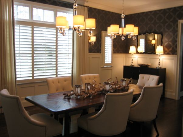 Take Two Dining Room Re Do We Added Drapery Custom Panels In Off White Linen With Black Greek Key Tape Nickel Hardware W