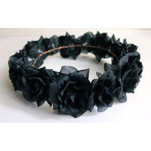 Black Flower Crown, Gothic Flower Crown, Black Flower Headband, Rave Hair Accessories, Coachella Headband, EDC Headband, Halloween Headband