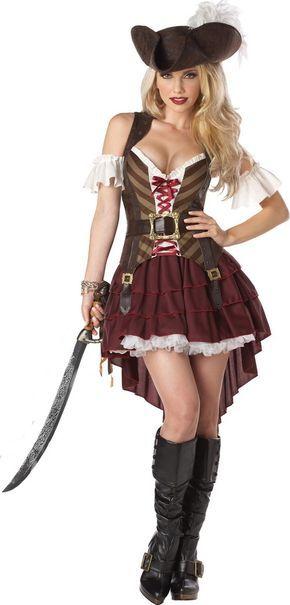 Sexy Piratin Damenkostüm Steampunk braun-rot-weiss , günstige Faschings Kostüme bei Karneval Megastore, der größte Karneval und Faschings Kostüm- und Partyartikel Online Shop Europas!
