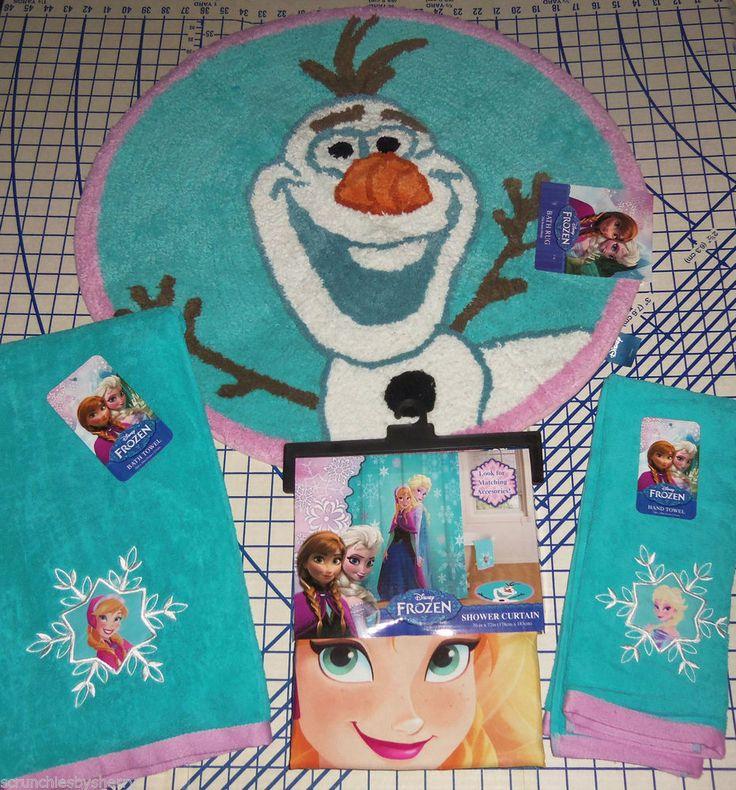 Disney Frozen Anna Elsa Shower Curtain Olaf Bath Rug Bath Hand Towel Set  New #Disney