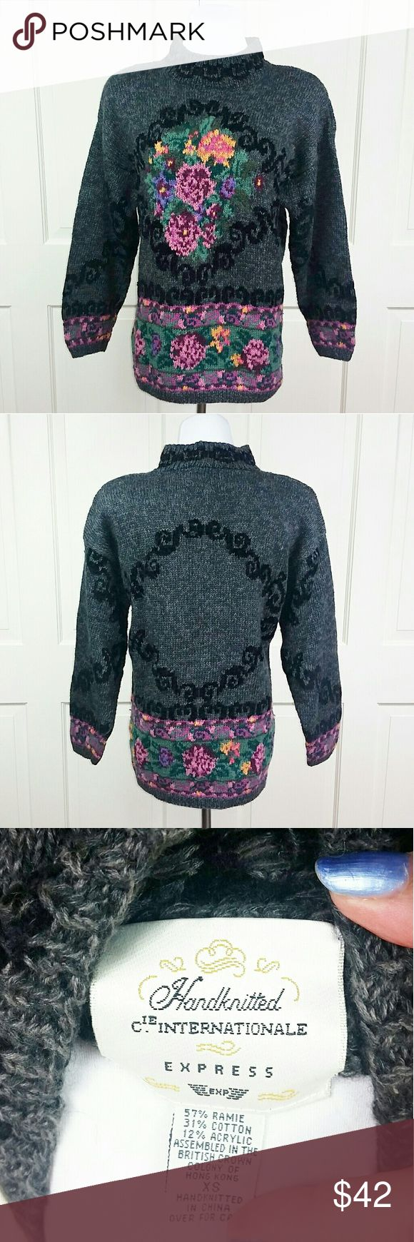 NEW❣ Vintage Floral Sweater from Companie Internationale Express (predesessor to Express)  Marked XS but oversized so would be extra loose on XS, loose on S & would probably fit M. Listing as a SMALL.  Soft 51% Ramie/37% Cotton/12% Acrylic blend. Heavy weight knit. Just lovely!  This vintage treasure was proudly worn by 80s girls with big hair over their stirrup leggings & high top aerobic shoes! It even has the requisite shoulder pads which are easily removable, if you choose. EUC…