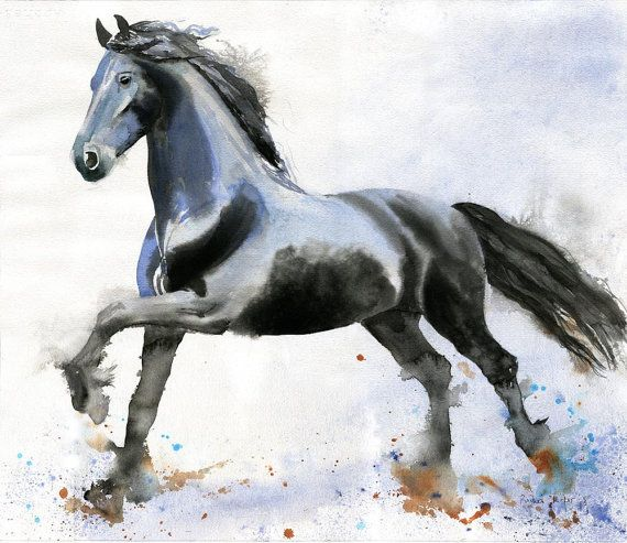 Friesian Horse Art PRINT Morgan Warmblood by rachelsstudio on Etsy, $25.00