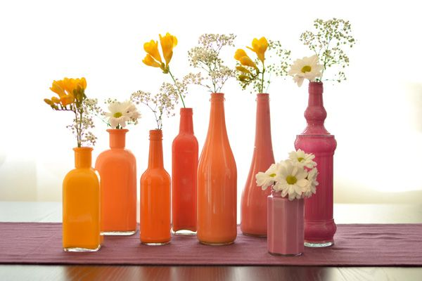 painted bottles in shades of orange and pink