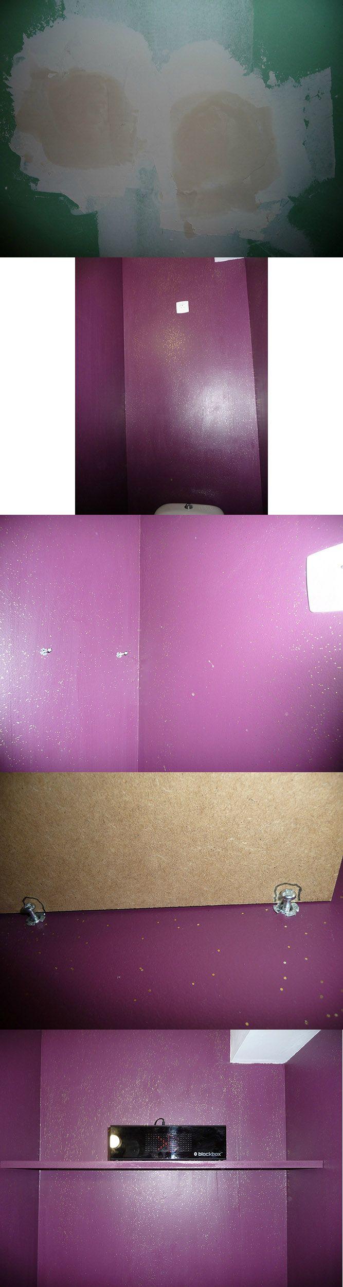 Équipement perso : Des WC modernes avec la création d'une prise de courant pour brancher une barre de son Bluetooth.
