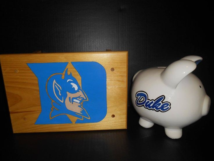 $40 - Hand-painted Duke Stool & Piggy bank set. Stool is perfect for reaching the sink in the bathrooom or reading. The piggy bank is the perfect way to introduce your child to saving or just to show a little team pride. Price for the set is $40 but I will sell them seperately ($28 for the stool and $18 for the Large Piggy bank).  Customization is available at no extra charge.