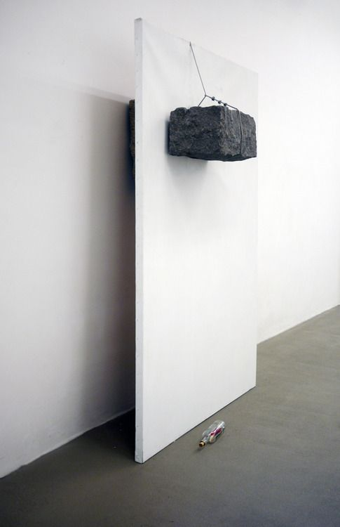 Giovanni Anselmo, Untitled, 1984 canvas, granite, steel cord (via alexquisite)