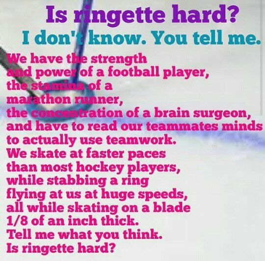 Is ringette hard? Yes would be the correct answer to that question.
