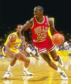 Byron Scott (Los Angeles Lakers) and Michael Jordan