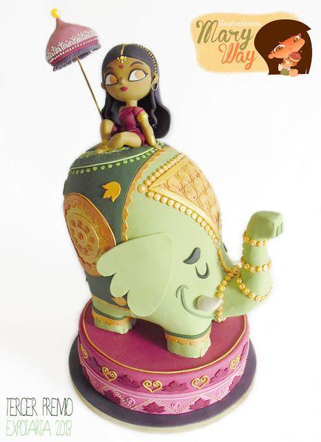India themed cake. MaryWay Ilustratartas.