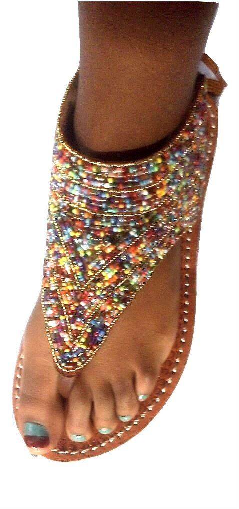Girls and Ladies Handmade Leather and Beads Sandals, Sizes 26-42 Sandals from Africa, Charity