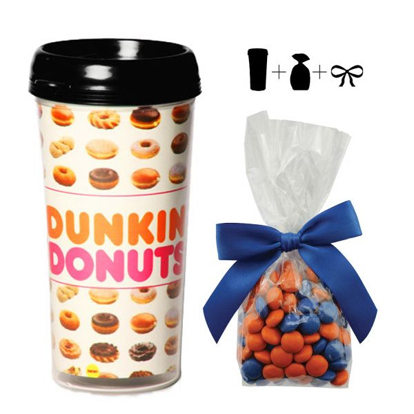 "Plastic travel mug with corporate color chocolates.  Perfect travel mug with corporate color chocolates for your clients to take your logo and their favorite drink on the road.   Promote on the go with this creative travel mug with four color insert and corporate color chocolates.  These travel mugs can be filled with corporate color chocolate or a variety of chocolate and candy.  Travel mug dimensions are 3.5""W x 6.5"" H."