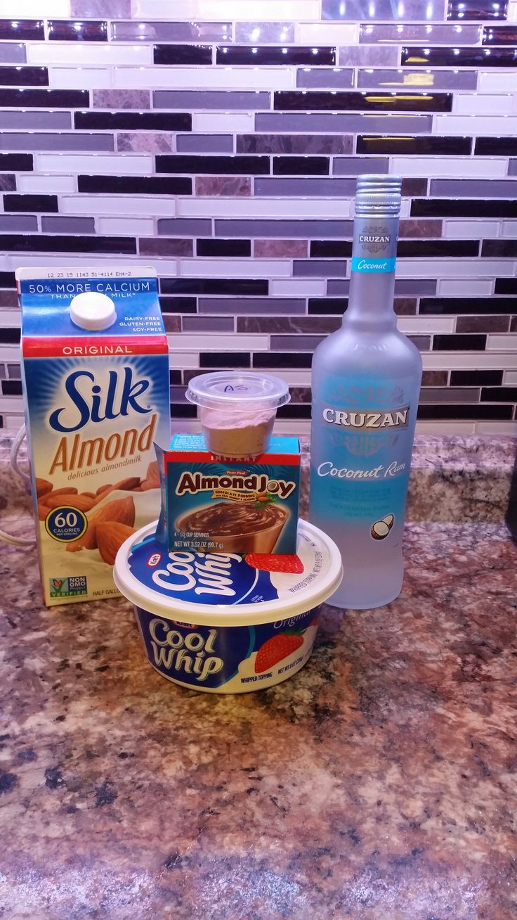 Almond Joy pudding shots~~~~~~~~~~~  1 package of almond Joy pudding--------   3/4 cup of almond milk or regular milk-----   3/4 cup of coconut rum---------   1 tub of cool whip------   Mix pudding, milk, and rum together. Fold in cool whip, place in cups and freeze.