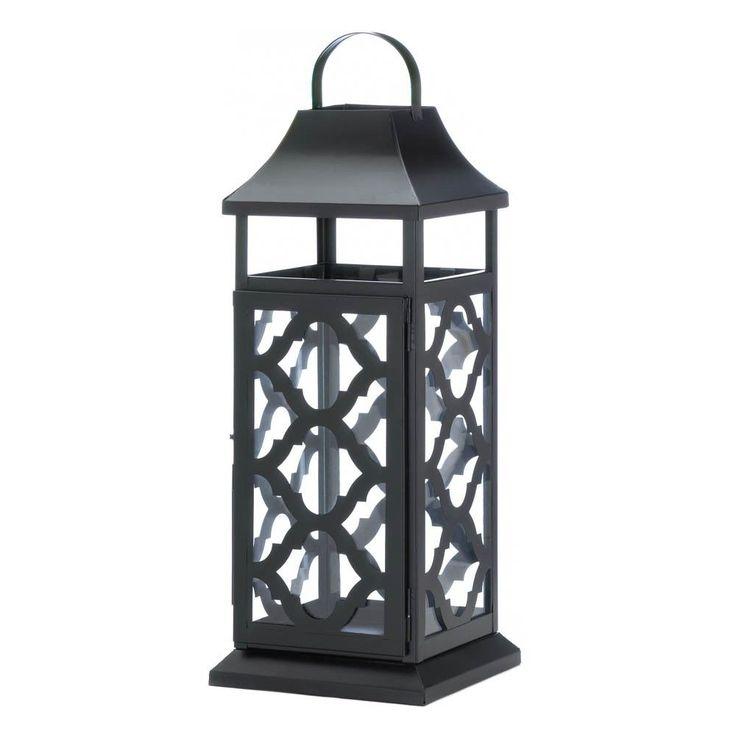 Black Damask Candle Lantern Decor Garden Yard Porch Patio Outdoor Table Light #GalleryofLight