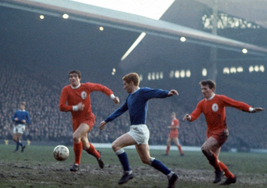Mersey derby nostalgia - Alan Ball is pursued by Ron Yeats and Tommy Smith as he bears down on goal at the Anfield Road end during a keenly-contested Merseyside derby. Ball and Smith were the goalscorers when the Merseyside giants did battle in the league for the 100th time on 8 October 1968 - the match finishing 1-1.
