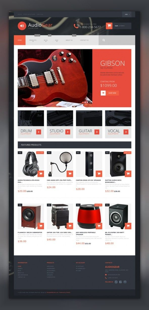 Musical Instruments Shopify Theme E-commerce Templates, Shopify Themes, Electronics Templates, Audio Store Templates